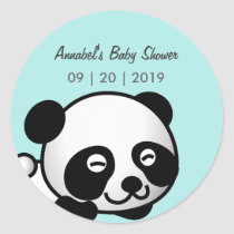 Smiley Panda Baby Shower Classic Round Sticker