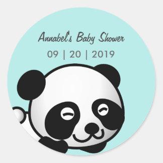 Smiley Panda Baby Shower Classic Round Sticker