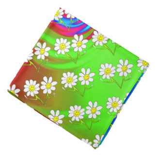 smiley party daisies psychedelic bandana