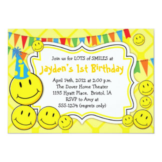 "Smiley Party - Smily Face Party Invitations 5"" X 7"" Invitation Card"