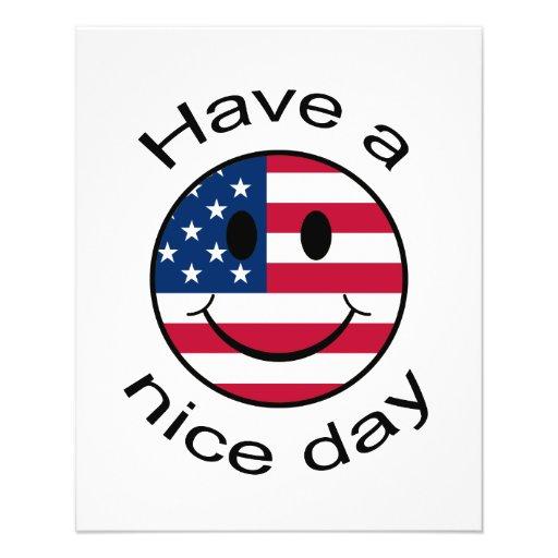 Smiley patriótico flyer personalizado