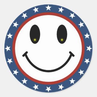 Smiley patriótico pegatina redonda