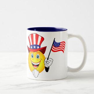 Smiley patriótico taza dos tonos