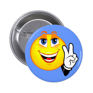 Smiley Peace Pinback Button