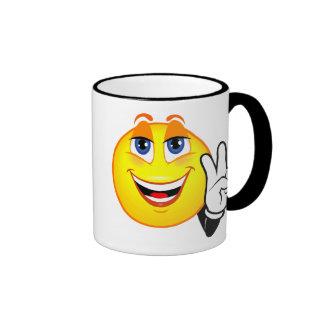 Smiley Peace Ringer Mug