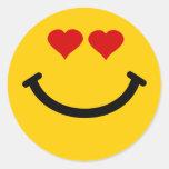 Smiley pegado amor etiquetas redondas