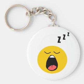 Smiley perezoso el dormir llavero redondo tipo pin