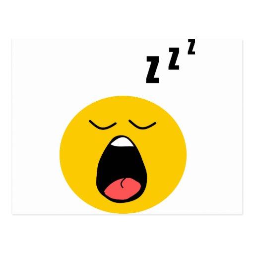 Smiley perezoso el dormir tarjetas postales