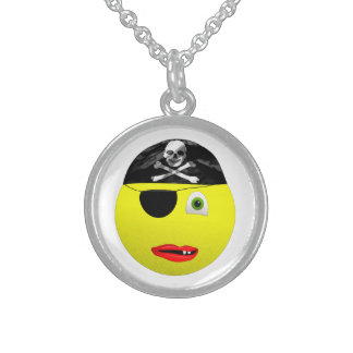 Smiley Pirate Sterling Silver Round Necklace
