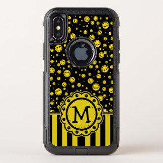 Smiley Polka Dot Monogram OtterBox Commuter iPhone X Case