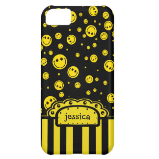 Smiley PolkaDot Name Template Case For iPhone 5C