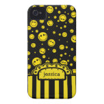 Smiley PolkaDot Name Template iPhone 4 Case-Mate Cases