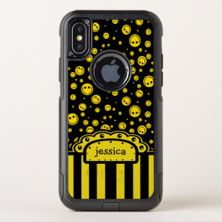 Smiley PolkaDot Name Template OtterBox Commuter iPhone X Case