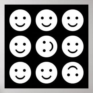 Smiley que caen - blancos y negros póster