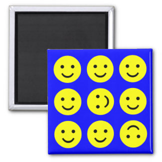 Smiley que caen - en azul imán cuadrado