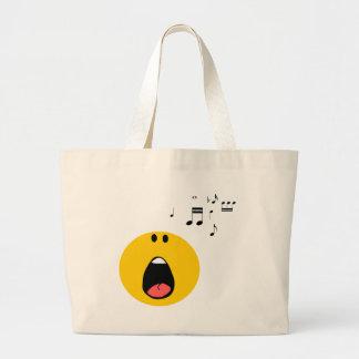 Smiley que canta su poco corazón hacia fuera bolsa tela grande
