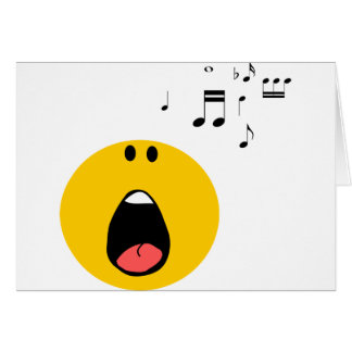Smiley que canta su poco corazón hacia fuera tarjeton