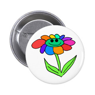 smiley rainbow flower button