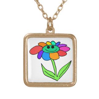 smiley rainbow flower square pendant necklace