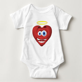 Smiley red heart angel baby bodysuit
