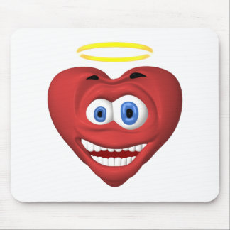 Smiley red heart angel mouse pads