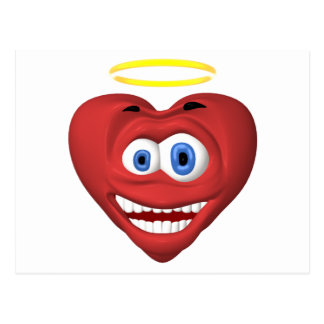 Smiley red heart angel postcard