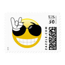 Smiley Rock On Emoji Postage Stamps