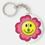 Smiley rojo del bádminton de la flor llaveros personalizados