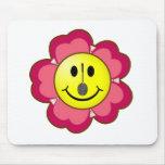 Smiley rojo del bádminton de la flor alfombrillas de ratón