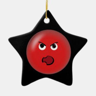 Smiley rojo enojado adorno navideño de cerámica en forma de estrella