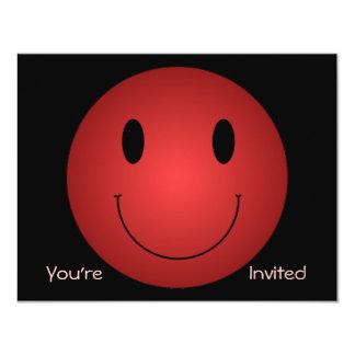 """Smiley rojo invitación 4.25"""" x 5.5"""""""