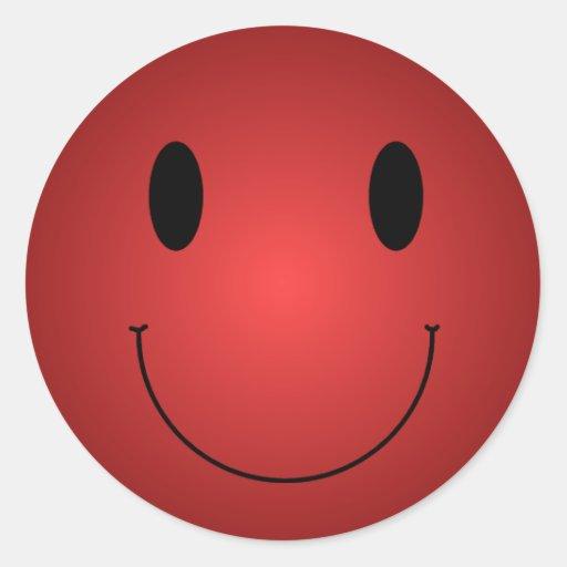 Smiley rojo pegatinas redondas