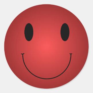 Smiley rojo pegatina redonda
