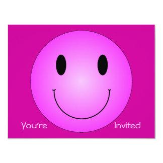 """Smiley rosado invitación 4.25"""" x 5.5"""""""