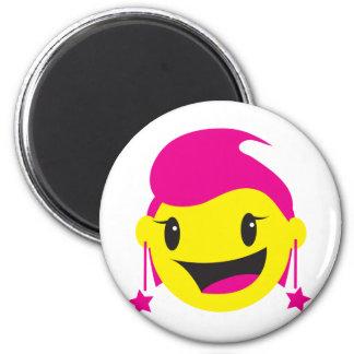 SMILEY rosado LINDO del chica Imán Redondo 5 Cm