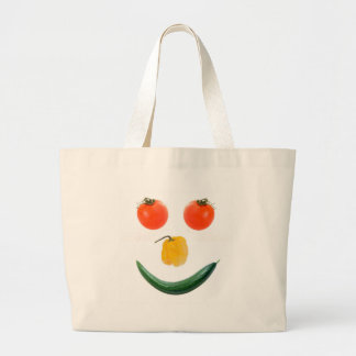 Smiley salad face large tote bag