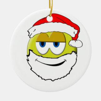 Smiley Santa Ceramic Ornament