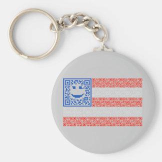 Smiley Scan Flag QR Code Design Keychain