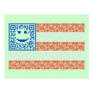 Smiley Scan Flag QR Code Design Post Cards