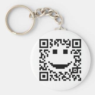 Smiley Scan UPC QR Design Keychain