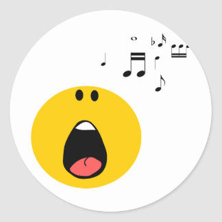 Smiley singing his little heart out classic round sticker