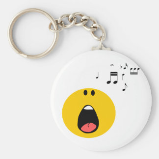 Smiley singing his little heart out keychain
