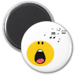 Smiley singing his little heart out 2 inch round magnet