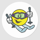 Smiley Skiing Classic Round Sticker