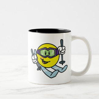 Smiley Skiing Two-Tone Coffee Mug