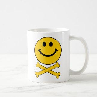 Smiley skull and crossbones mug