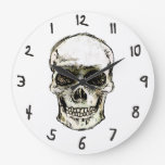 Smiley Skull Reversed Time Wall Clock