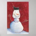 Smiley Snowman Canvas Artwork Print