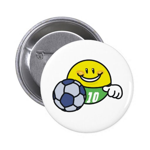 Smiley Soccer 2 Inch Round Button