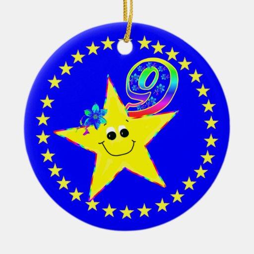 Smiley Star 9th Birthday Ornament